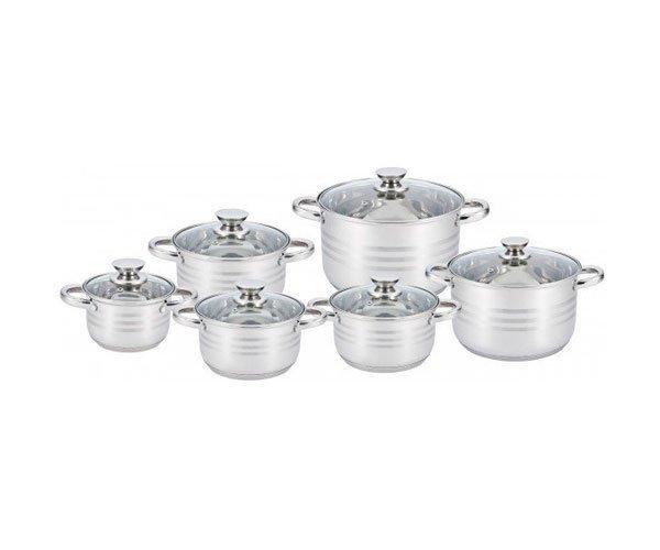 Набір посуду (кастрюль) з 6 предметів Unique UN-5035, каструлі з кришками, нержавіюча сталь