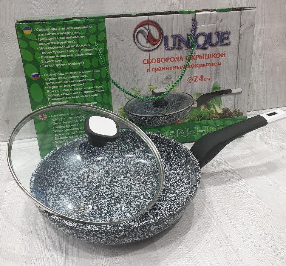 Сковорода з антипригарним гранітним покриттям, з кришкою Unique UN-5125 (24 см)