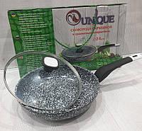 Сковорода с антипригарным гранитным покрытием,  с крышкой Unique UN-5125 (24 см), фото 1