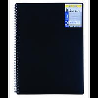Записна книжка на пружині CLASSIC, А6, 80 аркушів, клітинка,чорний
