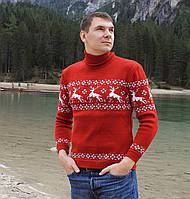 Мужской вязаный  рождественский свитер Гольф/Джемпер  (Красный)