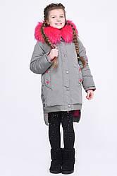 Детская зимняя куртка парка с ассиметричным низом