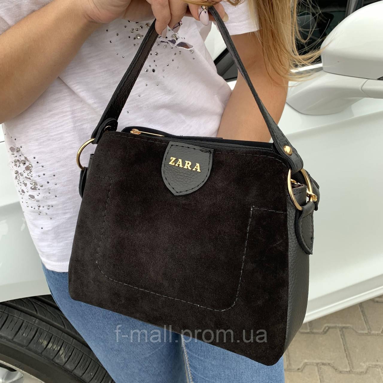 Женская сумка черная замш Zara   (1534)