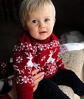 Детский вязаный рождественский  свитер  Гольф/Джемпер (Красный) 80-152 см