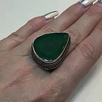 Изумруд кольцо капля с камнем изумруд в серебре. Размер19. Кольцо с изумрудом Индия