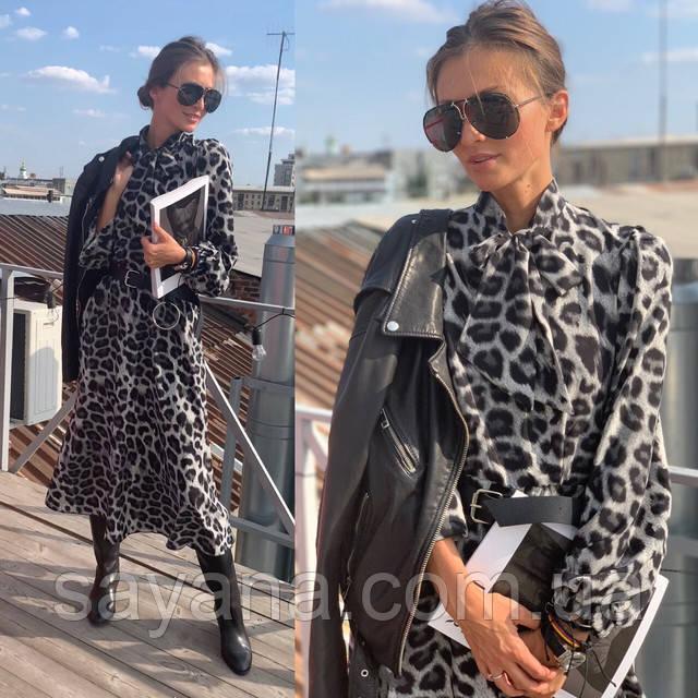 женское платье миди леопард