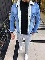 Мужская джинсовка на меху(черная,синяя)