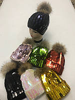 Шапка на меху с пайетками  «Чешуя» и помпоном (енот)   (Арт.: WJ063), фото 1