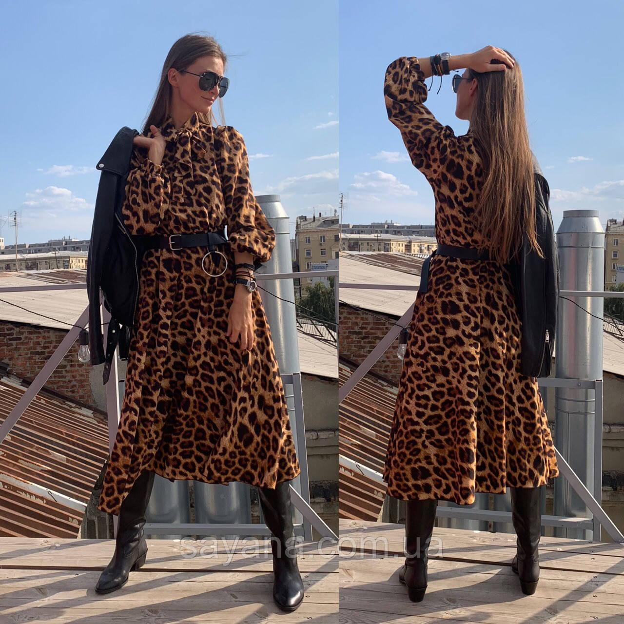 Женское платье с модным принтом и поясом в расцветках. ЛД-5-0219