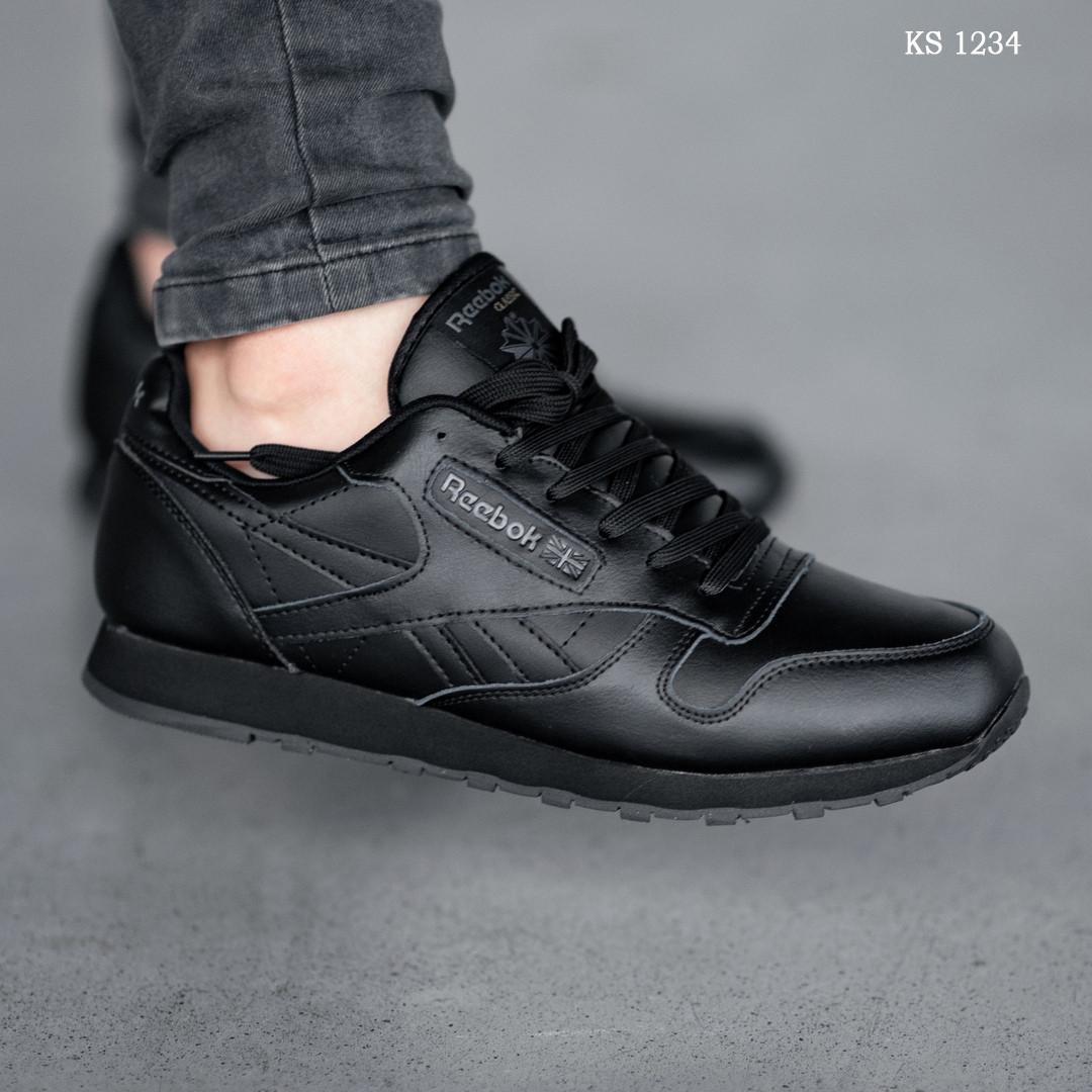 Мужские зимние кроссовки на меху в стиле Reebok Classic, кожа, полиуретан, черные 44 (28 см)