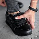 Мужские зимние кроссовки на меху в стиле Reebok Classic, кожа, полиуретан, черные 44 (28 см), фото 4