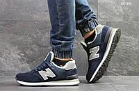 Мужские зимние кроссовки на меху в стиле New Balance 574, замша, пена, синие 43 (27,5 см)