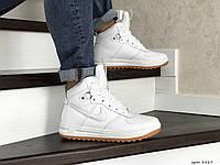 Мужские зимние кроссовки на меху в стиле Nike Lunar Force 1, кожа, белые 41 (26,6 см)