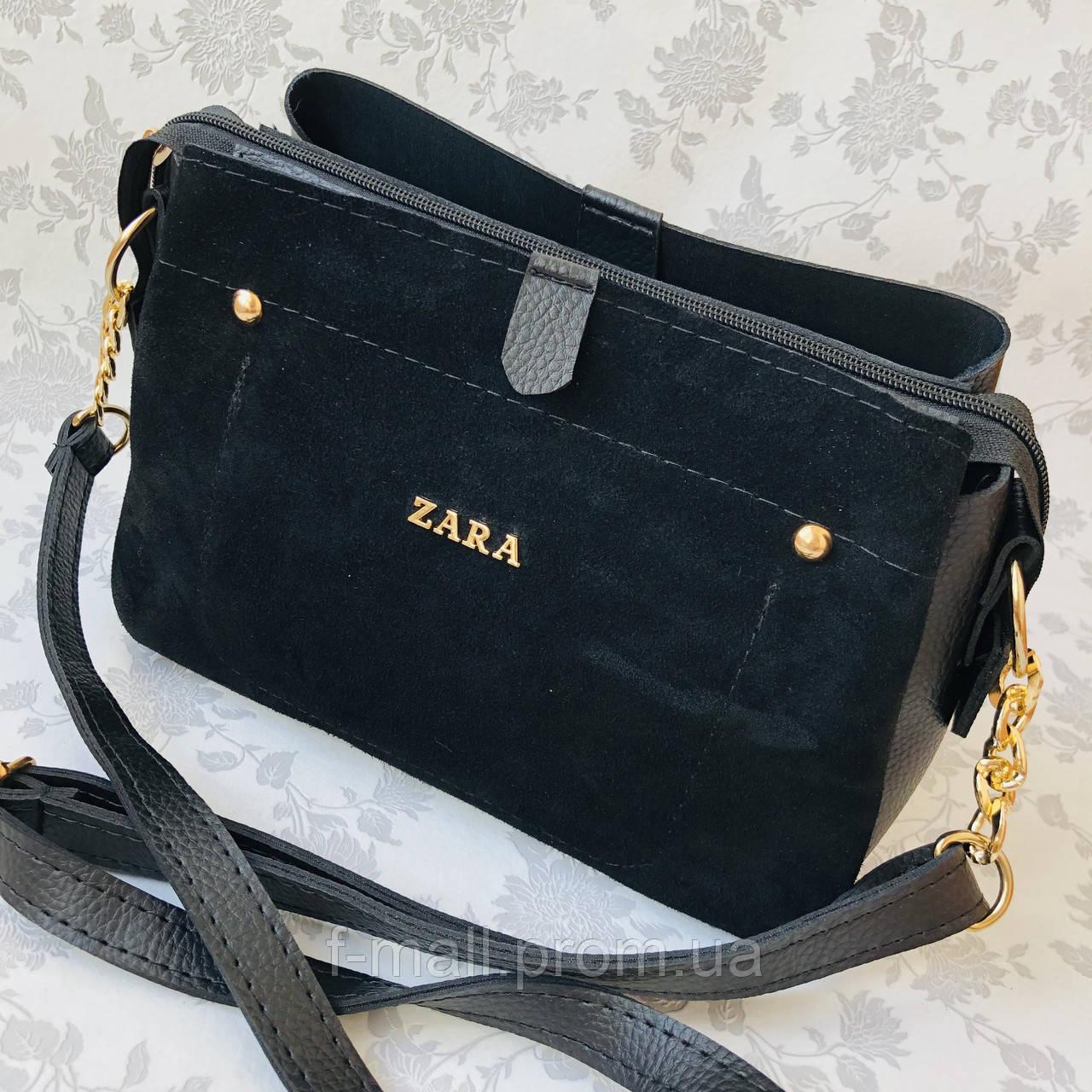Женская сумка черная замш Zara   (1515)