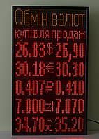 Табло Обмен Валют светодиодный 640х1120 желтый/красный Wi-Fi управление