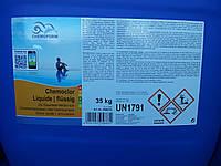 Chemochlor flusing жидкий хлор 35кг ― хлорпрепарат  для дозированного автоматического хлорирования (13% хлора)