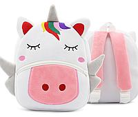 """Детский рюкзак для любимых малышей """"Единорог"""" плюшевый белый розовый девочке мягкий маленький качественный К28"""