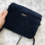 Женская сумка синяя Zara замш   (1536/1), фото 3