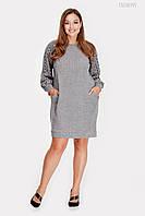 Нарядное  платье  батал из ангоры Лороза (серый) 3 цвета с 48 по 58 размер (пио)
