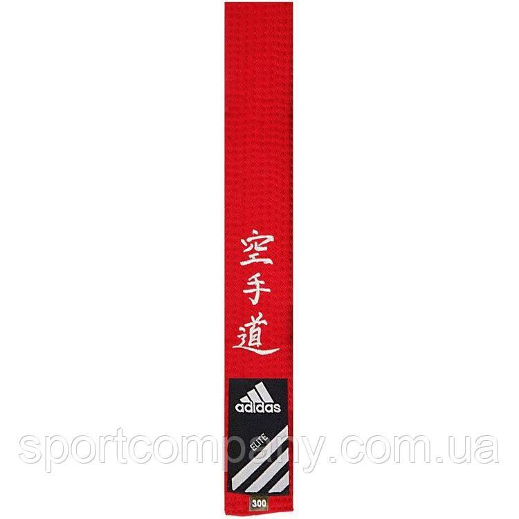 Пояс Adidas Elite с вышивкой каратэ, красный