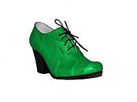 Туфли на шнуровке  деми зеленый питон кожа