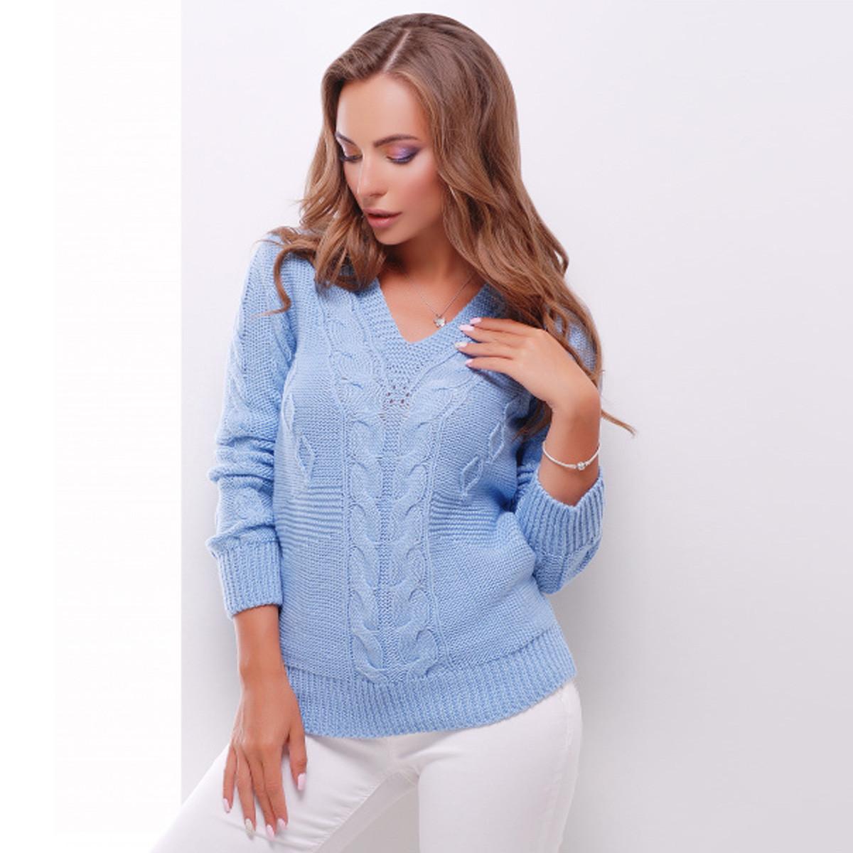 """Голубой вязаный женский свитер """"Эмили"""""""