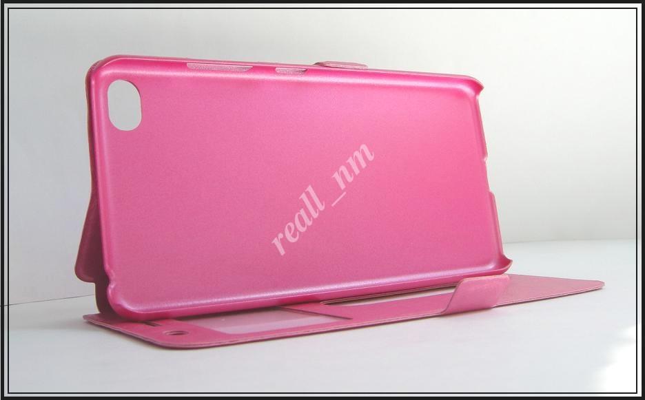Розовый чехол-книжка Double Window для смартфона Lenovo S90, S90e, Sisley