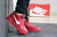 Мужские зимние кроссовки на меху в стиле Nike Lunar Force, кожа, красные 44 (27,5 см)