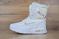 Женские зимние сапоги на меху в стиле Nike Zoom, текстильная термоплащевка, пена, белые 36 (23 см)