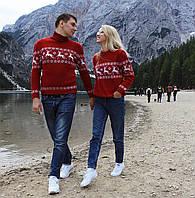 Коллекция  красних вязаных новогодних свитеров для пары