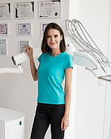Медицинская женская футболка, мята, фото 1