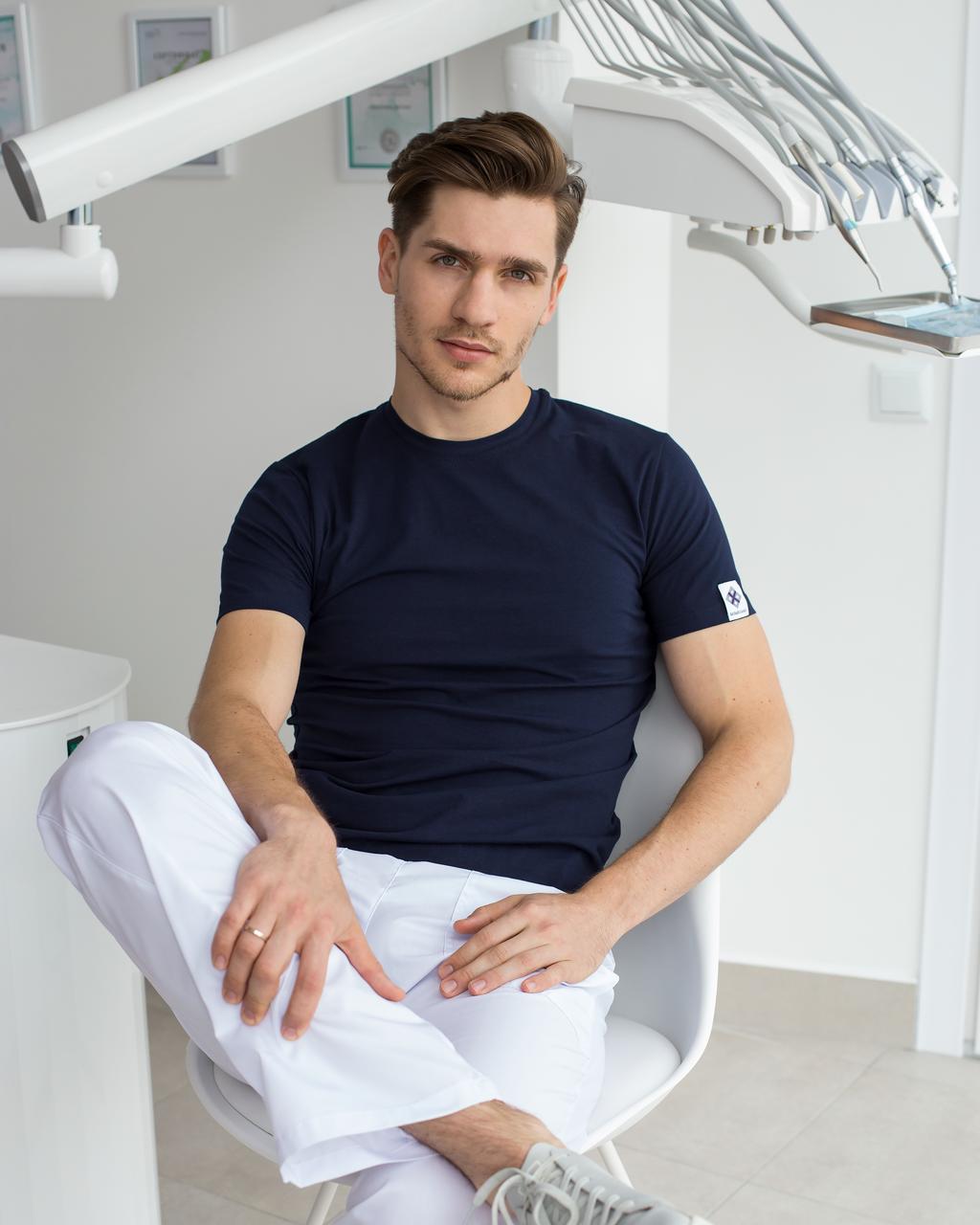 Мужская медицинская футболка, синяя