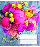Зошит учнівська 12 аркушів, лінія, квіти, малюнки в асортименті