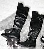 Высокие ботфорты из натуральной кожи 1163R-черная кожа, фото 2