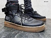 Мужские кроссовки в стиле Nike SF Air Force 1 Mid, кожа, нейлон, полиуретан, черные с рыжым 44 (28 см)