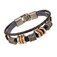 Женский кожаный браслет - Наоми (Черный)