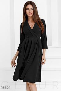 Офисное платье на каждый день с карманами юбка со складками цвет черный