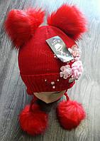 Шапка с цветами на флисе зимняя (Арт.: WD036)