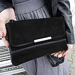 Стильная женская сумка клатч черная замш (А804), фото 2