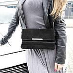 Стильная женская сумка клатч черная замш (А804), фото 3