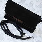 Стильная женская сумка клатч черная замш (А804), фото 4