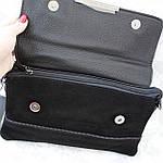 Стильная женская сумка клатч черная замш (А804), фото 5