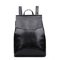 Черный рюкзак-сумка из качественной экокожи, фото 1