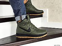 Мужские зимние кроссовки на меху в стиле Nike Lunar Force 1, кожа, зеленые 46 (30 см)