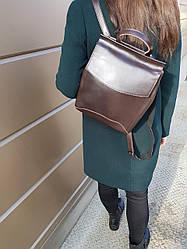 Кожаный женский рюкзак размером 25x30x10 см Коричневый