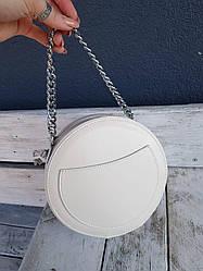 Кожаная женская сумка размером 20x19x6 см Бежевая