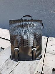 Шкіряний жіночий рюкзак розміром 33x28x15 см Чорний