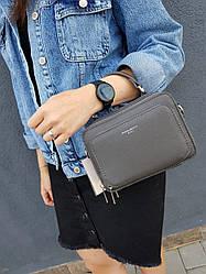 Кожаная женская сумка размером 19x13x7 см Серая