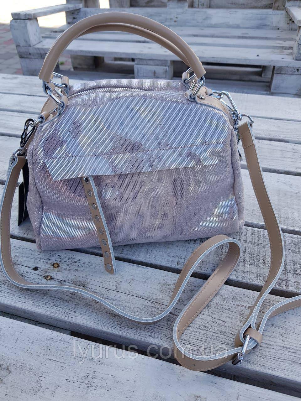 Кожаная женская сумка размером 18х24 см Светло коричневая