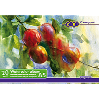 Альбом-планшет для акварелі, 20 аркушів А5 формату